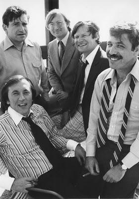 David Frost seated with his research team from left to right Bob Zelnick, John Birt, James Reston Jr and Executive Producer Marvin Minoff